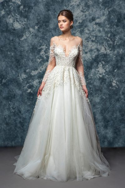 Illusion Sweetheart Neckline Long Sleeve A-line Wedding Dress by Enaura Bridal - Image 1