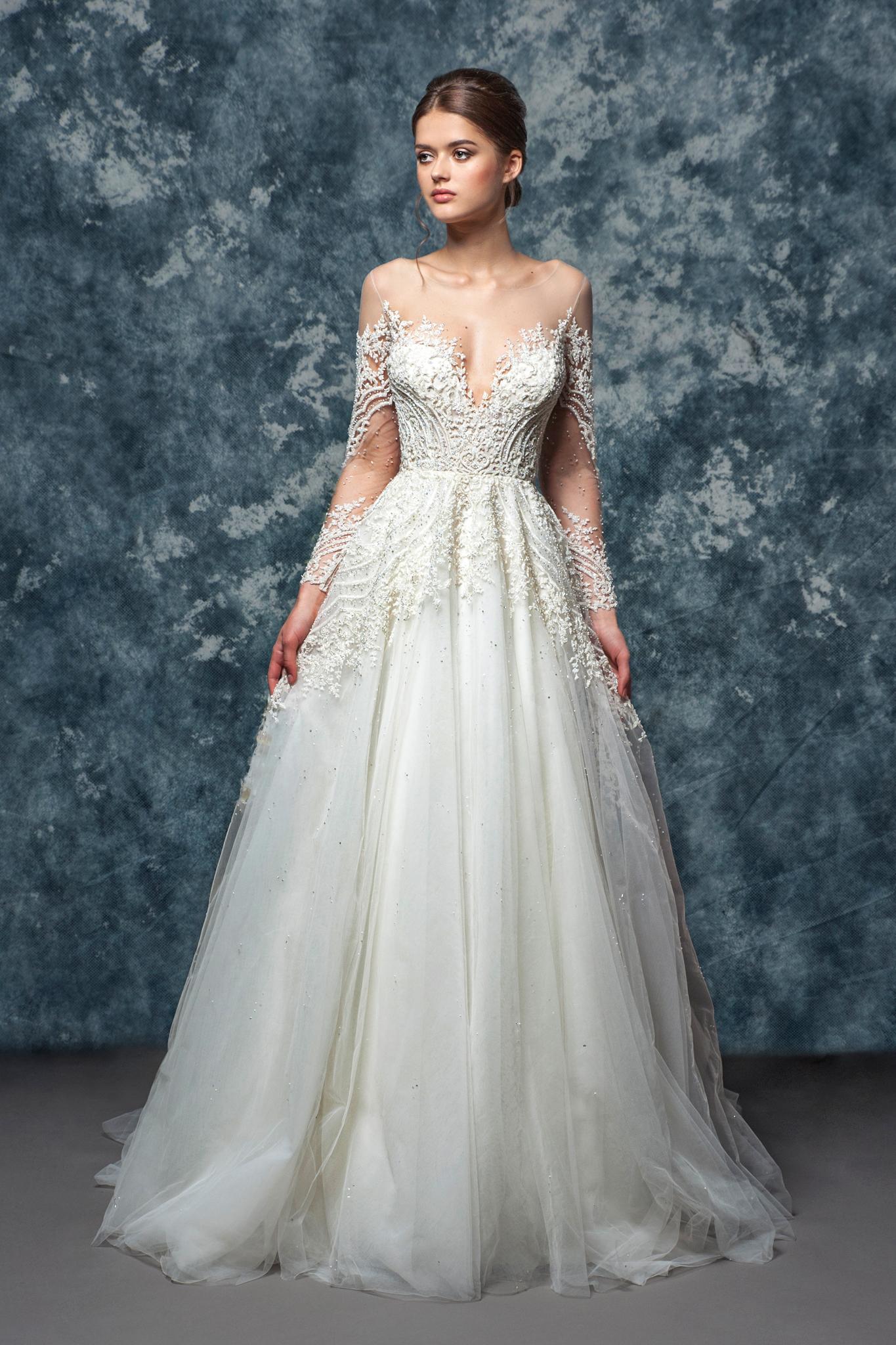 Illusion Sweetheart Neckline Long Sleeve A Line Wedding Dress