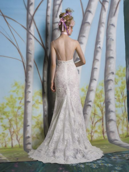 Spaghetti Strap V-neck Fit And Flare Wedding Dress With Scalloping At Hem by Isabelle Armstrong - Image 2