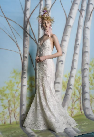 Spaghetti Strap V-neck Fit And Flare Wedding Dress With Scalloping At Hem by Isabelle Armstrong