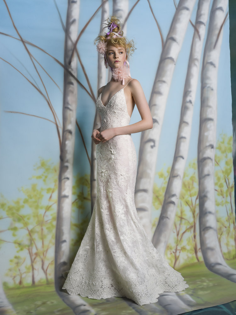 Spaghetti Strap V Neck Fit And Flare Wedding Dress With Scalloping