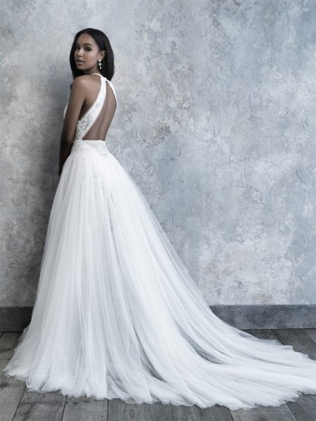 High Neck Tulle Skirt A-line Wedding Dress by Madison James - Image 2