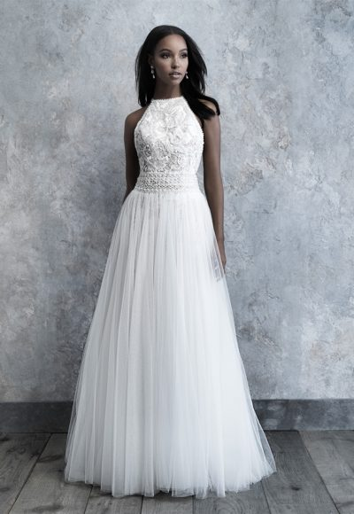 High Neck Tulle Skirt A-line Wedding Dress by Madison James
