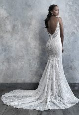Spaghetti Strap V-neck Scrolled Lace Sheath Wedding Dress by Madison James - Image 2