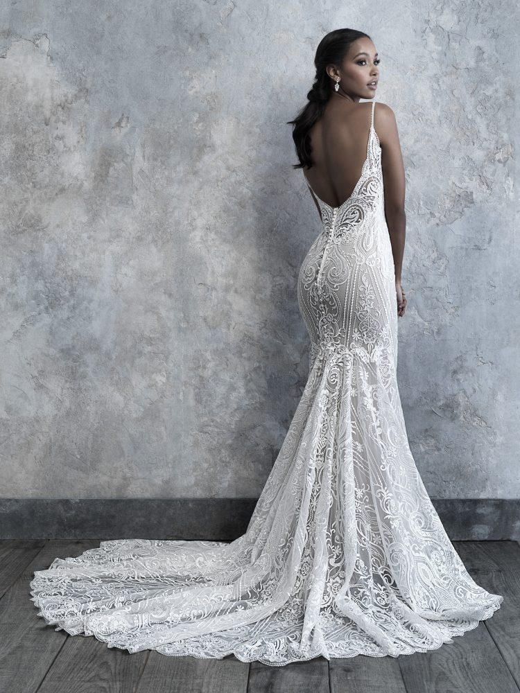 Spaghetti Strap V-neck Scrolled Lace Sheath Wedding Dress by Madison James - Image 2