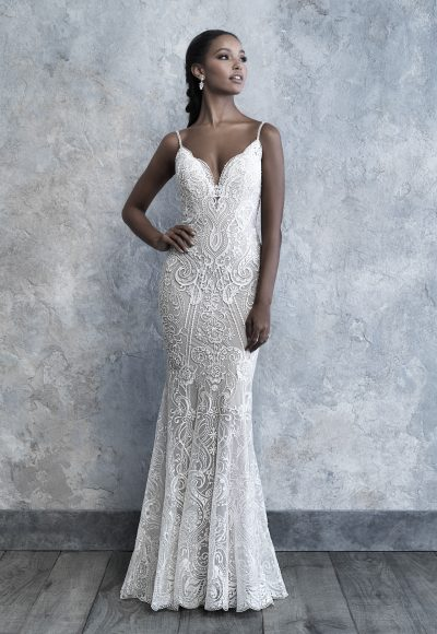 Spaghetti Strap V-neck Scrolled Lace Sheath Wedding Dress by Madison James