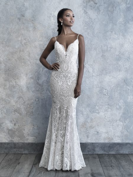 Spaghetti Strap V-neck Scrolled Lace Sheath Wedding Dress by Madison James - Image 1