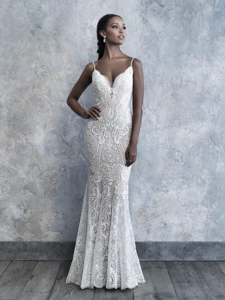 Spaghetti Strap V-neck Scrolled Lace Sheath Wedding Dress by Madison James - Image 1