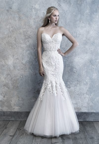Strapless Sweetheart Neckline Lace And Tulle Wedding Dress by Madison James