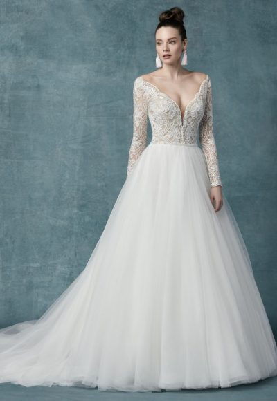Long Sleeve Lace Tulle Ball Gown Wedding Dress by Maggie Sottero