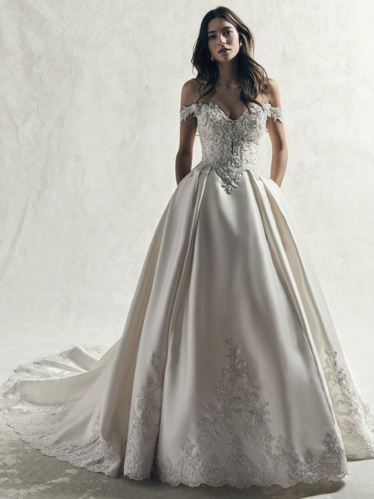 Off The Shoulder Beaded Lace Bodice And Mikado Skirt Ball