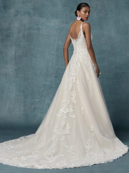 Spaghetti Strap A-line Floral Embroidered Wedding Dress by Maggie Sottero - Image 2