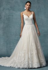 Spaghetti Strap A-line Floral Embroidered Wedding Dress by Maggie Sottero - Image 1