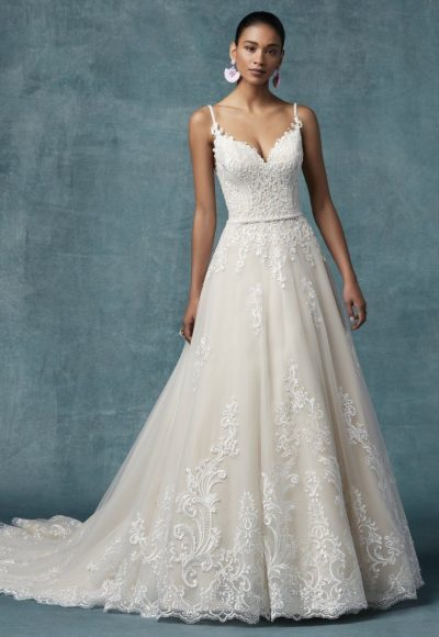 Spaghetti Strap A-line Floral Embroidered Wedding Dress by Maggie Sottero