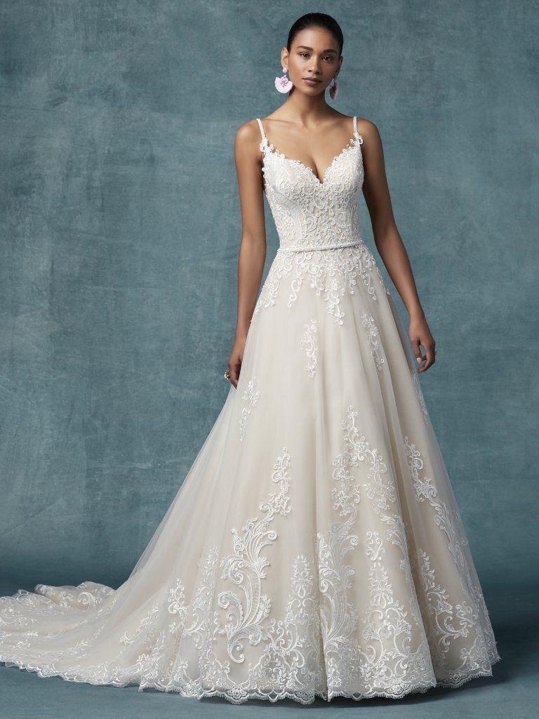 148252e3a5dd9 Spaghetti Strap A-line Floral Embroidered Wedding Dress | Kleinfeld Bridal