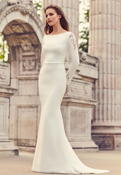 Long Sleeve Crepe And Lace Fit And Flare Wedding Dress With Covered Buttons And Bateau Neckline by Mikaella