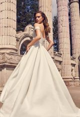 Off The Shoulder Satin Ball Gown With Pleated Bodice, Beaded Belt And Sweetheart Neckline by Mikaella - Image 2