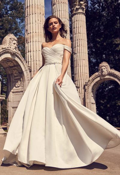 Off The Shoulder Satin Ball Gown With Pleated Bodice, Beaded Belt And Sweetheart Neckline by Mikaella