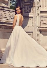 Sleeveless V-neck A-line Wedding Dress With Illusion And Pockets by Mikaella - Image 2