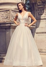 Sleeveless V-neck A-line Wedding Dress With Illusion And Pockets by Mikaella - Image 1