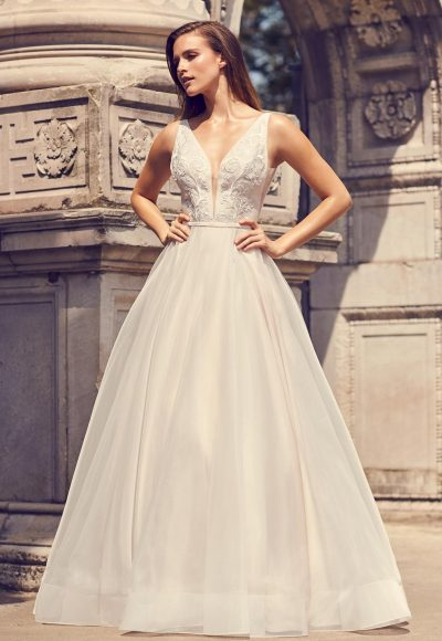 Sleeveless V-neck A-line Wedding Dress With Illusion And Pockets by Mikaella