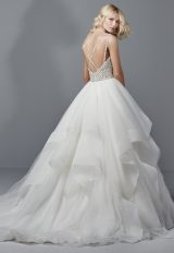Spaghetti Strap V-neck Ball Gown With Beaded Bodice And Tiered Tulle And Horsehair Skirt by Sottero and Midgley - Image 2