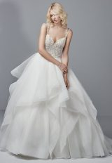 Spaghetti Strap V-neck Ball Gown With Beaded Bodice And Tiered Tulle And Horsehair Skirt by Sottero and Midgley - Image 1