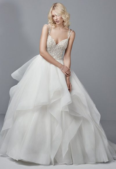 Spaghetti Strap V-neck Ball Gown With Beaded Bodice And Tiered Tulle And Horsehair Skirt by Sottero and Midgley