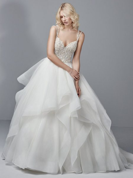 Spaghetti Strap V Neck Ball Gown With Beaded Bodice And Tiered Tulle And Horsehair Skirt