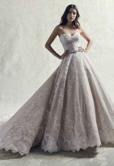 Strapless Sweetheart Lace Ball Gown Wedding Dress by Sottero and Midgley