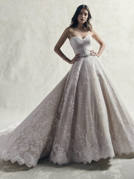 Strapless Sweetheart Lace Ball Gown Wedding Dress