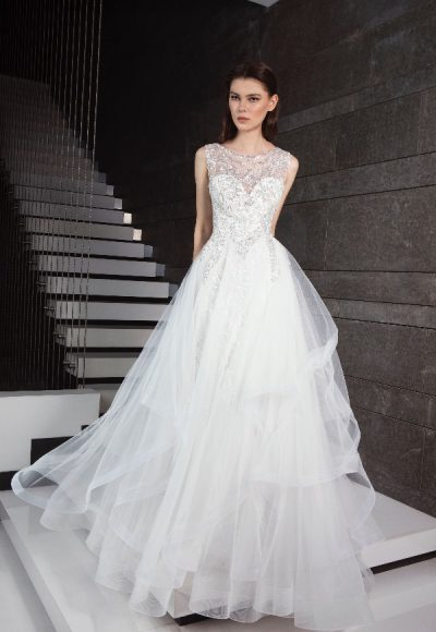 Beaded Illusion Bodice A-line Wedding Dress With Sweeping Horsehair Skirt by Tony Ward