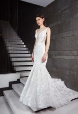 Cutout Bodice Lace And Sequin Fit And Flare Wedding Dress by Tony Ward - Image 1