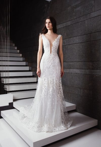 Plunging V-neck Appliqued Wedding Dress by Tony Ward