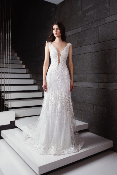 Plunging V-neck Appliqued Wedding Dress by Tony Ward - Image 1
