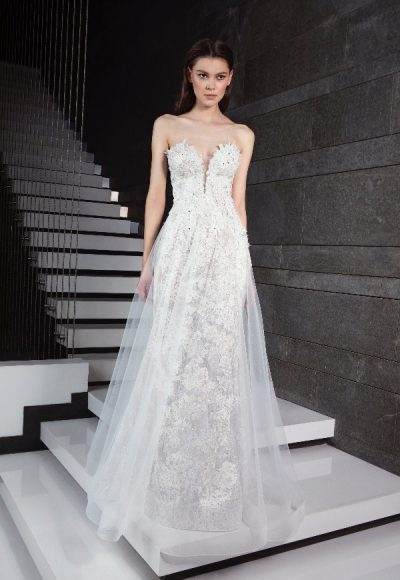 Plunging V-neck Sheer Overskirt Sheath Wedding Dress by Tony Ward