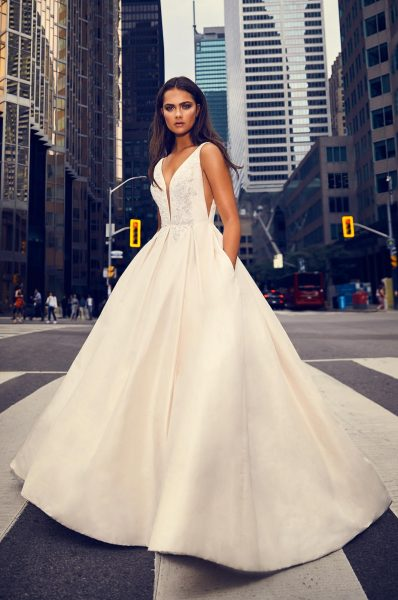 Sleeveless V-neck Silk Ball Gown Wedding Dress by Paloma Blanca - Image 1