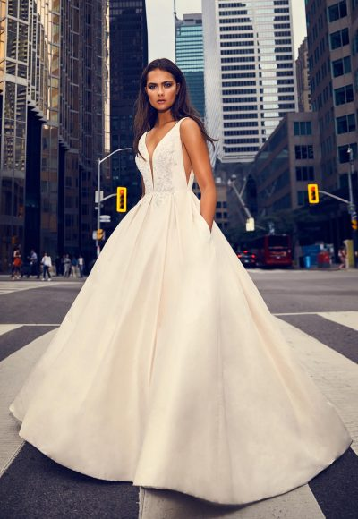 Sleeveless V-neck Silk Ball Gown Wedding Dress by Paloma Blanca