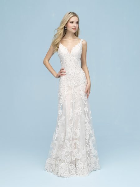 3dc58ab2c40 Beaded Lace Sheath Gown by Allure Bridals - Image 1