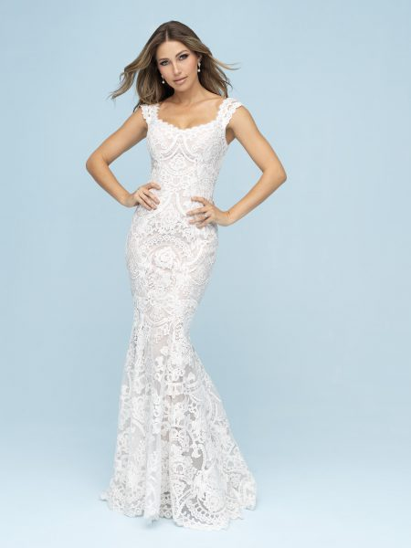 Lace Sheath Wedding Dress by Allure Bridals - Image 1