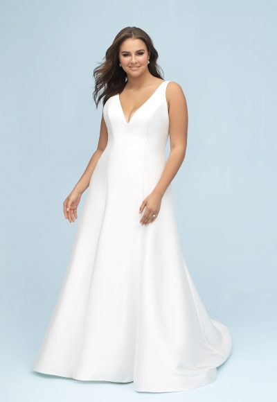 Simple Silk A-line Gown by Allure Bridals