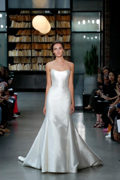 Simple Scoop Neckline Natural Waist Strapless Wedding Dress by Amsale - Image 1