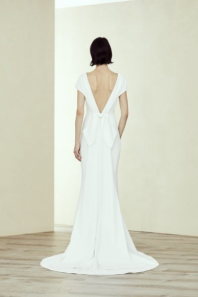 V Neck Cap Sleeve Fit-to-flare Gown by Amsale - Image 2