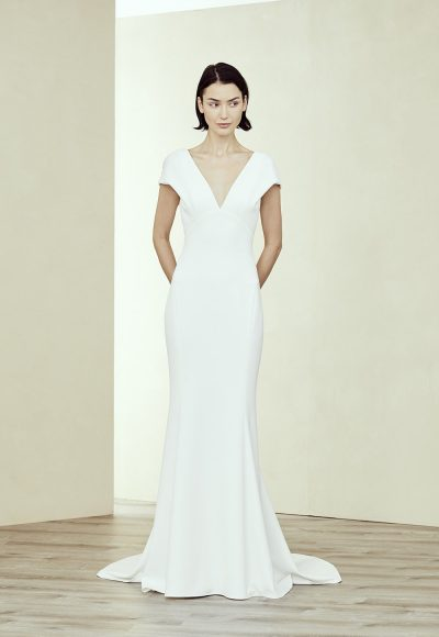 V Neck Cap Sleeve Fit-to-flare Gown by Amsale