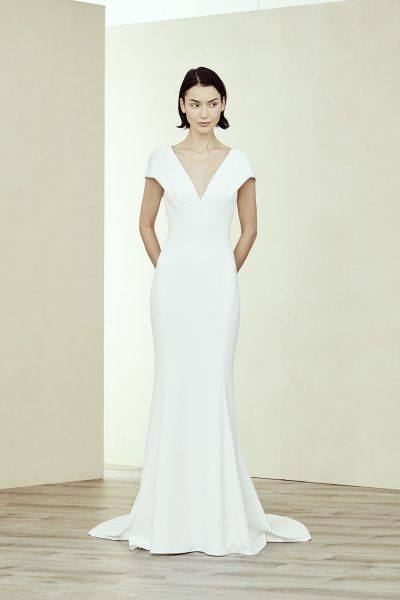 V Neck Cap Sleeve Fit-to-flare Gown by Amsale - Image 1