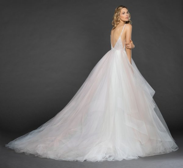 Spaghetti Strap V-neck Crystal Bodice Tulle Skirt Ball Gown Wedding Dress by Hayley Paige - Image 2