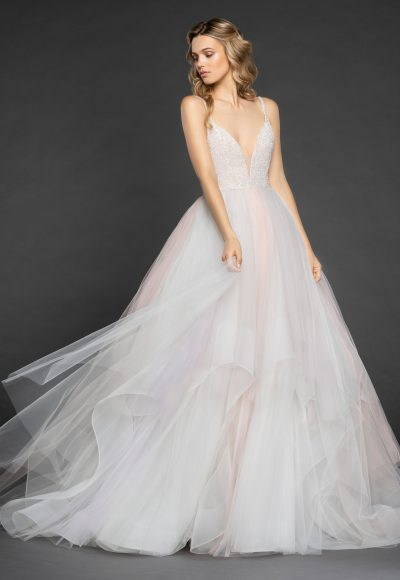 Spaghetti Strap V-neck Crystal Bodice Tulle Skirt Ball Gown Wedding Dress by Hayley Paige