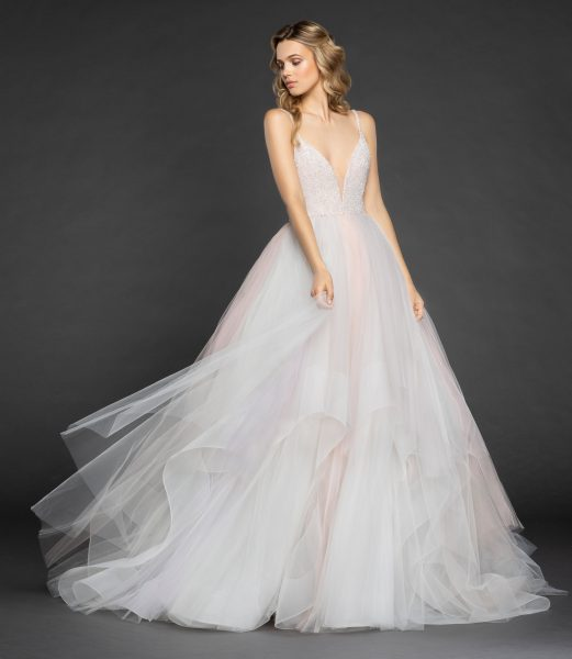 14d4c9007dd98 Spaghetti Strap V-neck Crystal Bodice Tulle Skirt Ball Gown Wedding Dress  by Hayley Paige