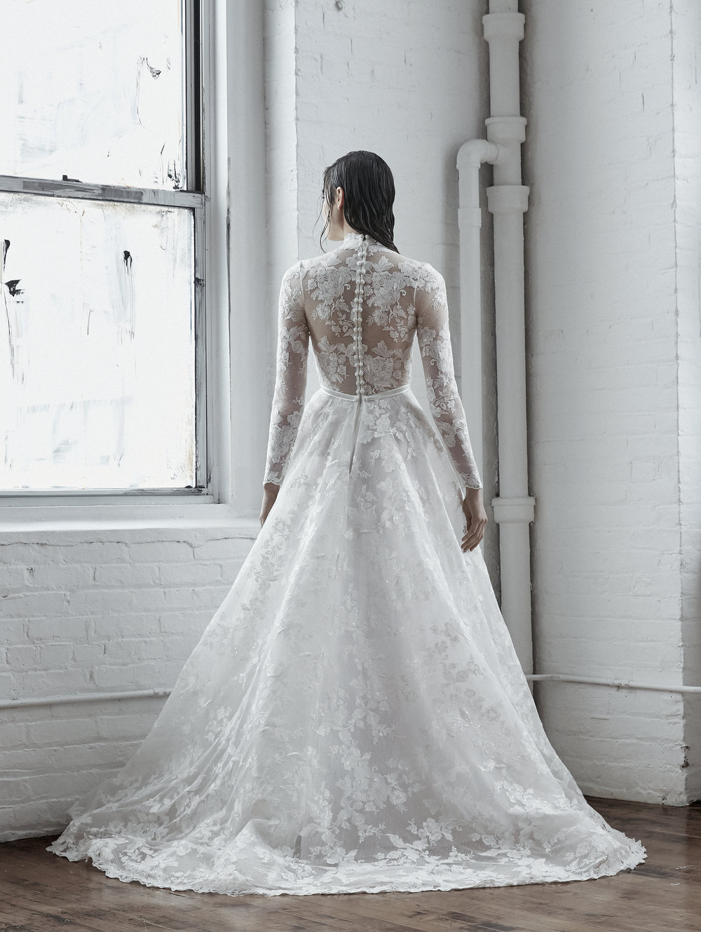 Illusion Long Sleeve Ball Gown Wedding Dress With High Neck