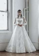 Illusion Long Sleeve Ball Gown Wedding Dress With High Neck by Isabelle Armstrong - Image 1